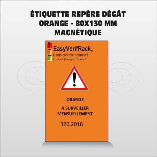 Étiquette magnétique – Repère dégât- orange  80×130 – Par lot de 5