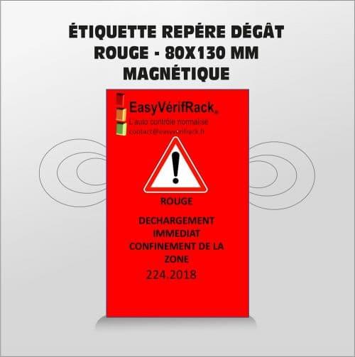Étiquette magnétique – Repère dégât- rouge  80×130 – Par lot de 5