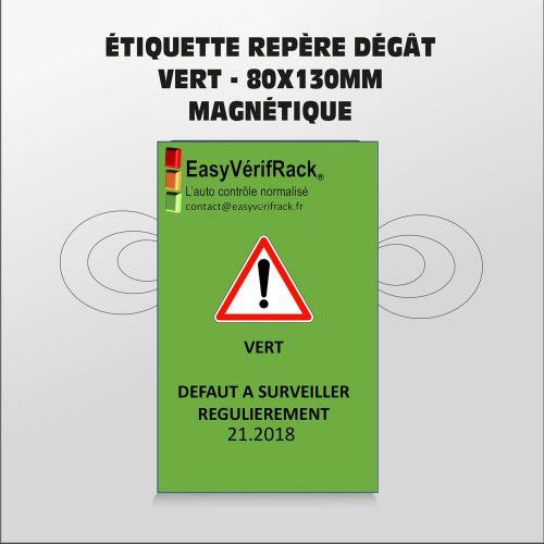 Étiquette magnétique – RAS – verte  80×130 – Par lot de 5